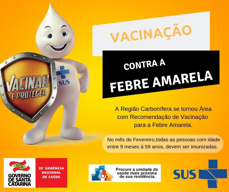 Comunicado – Vacinação contra a Febre Amarela - Município de Morro da Fumaça