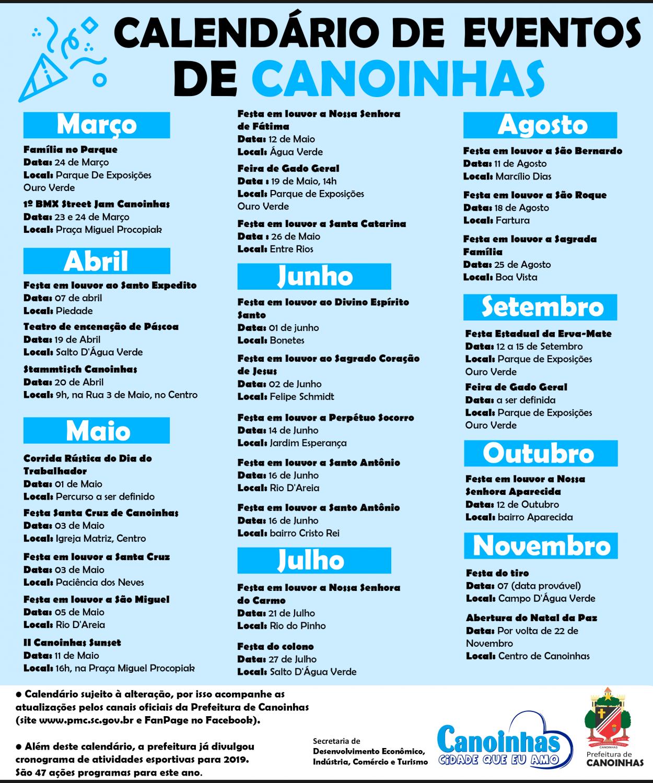 Calendario D.Governo Do Municipio De Canoinhas Produz Calendario De